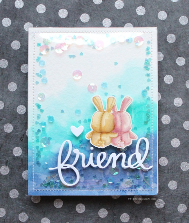 kristina werner design carte card friends shaker card amis lapin
