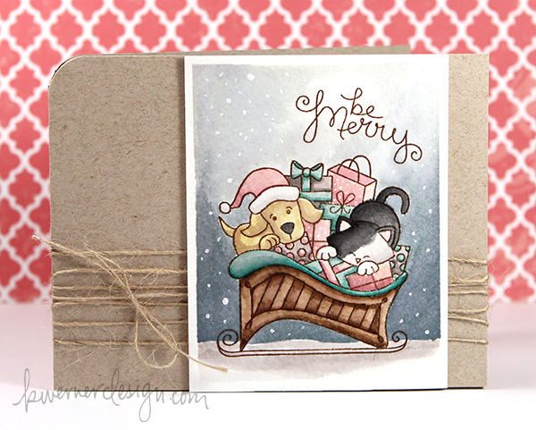 kristina werner design carte card be merry noel christmas