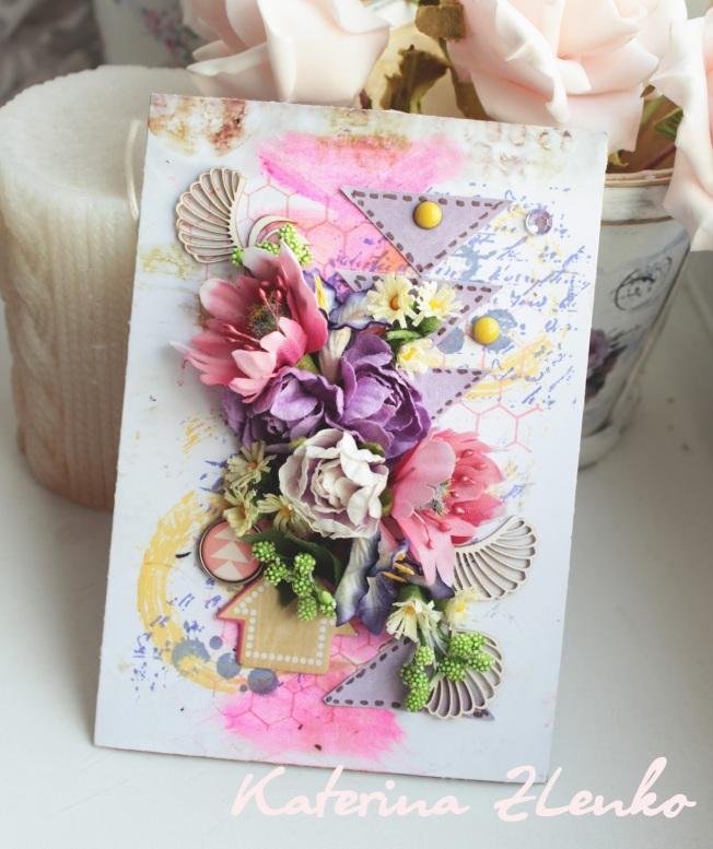 Ikaterina zlenko carte rose violet fleur