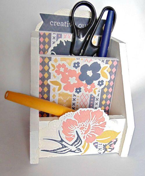 Cadeau porte crayon scrapbooking fleur oiseau stylo ciseau