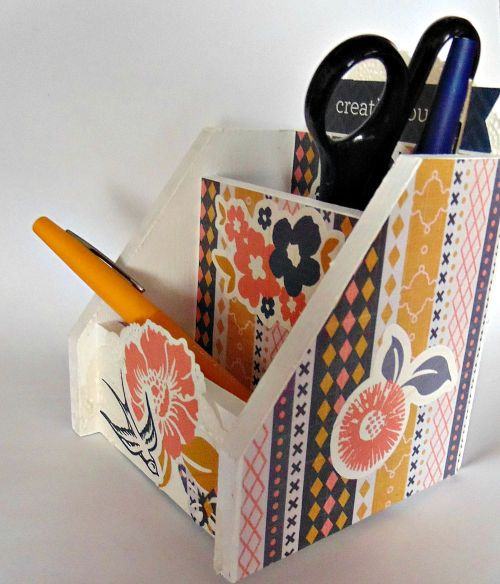 Cadeau porte crayon scrapbooking fleur oiseau ellana scrap