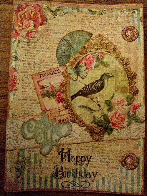 Carte anniversaire shabby oiseau vintage fleurs fleur ellanascrap