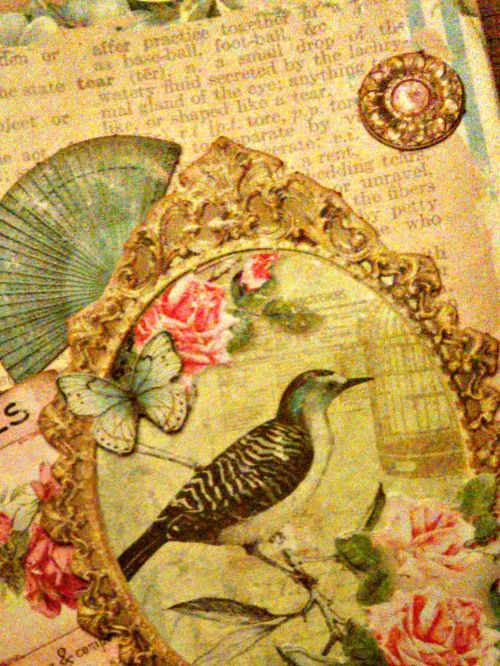Carte anniversaire birthday card happy birthday bird oiseau papillon vintage shabby shabbychic ellanascrap ellana scrap carterie