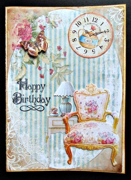 Carte anniversaire ellanascrap shabbychic shabby entier papillon horloge fauteuil fleur