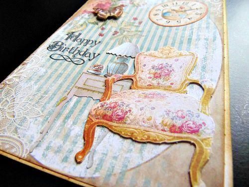 Carte anniversaire détail shabby chic fauteuil ellanascrap
