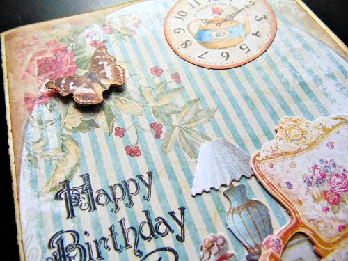 Carte anniversaire détail shabby papillon happy birthday ellana scrap