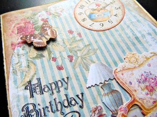 Carte anniversaire détail shabby papillon happy birthday ellana scrap