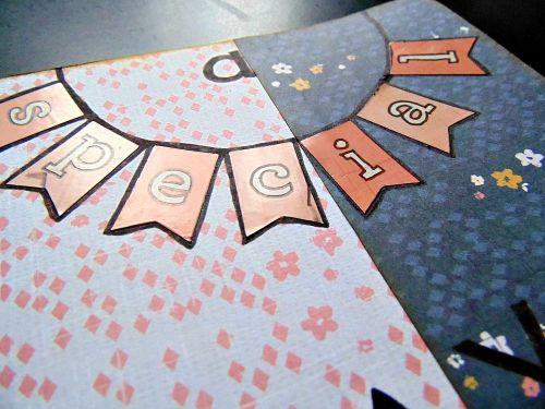 carte scrapbooking fleur oiseau special day détail fanion