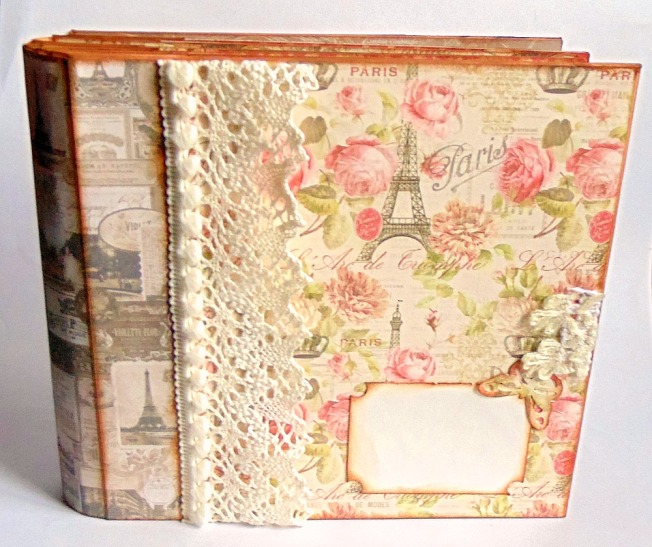 Album photo paris étiquette papillon couverture front face dentelle rose fleur beige blanc