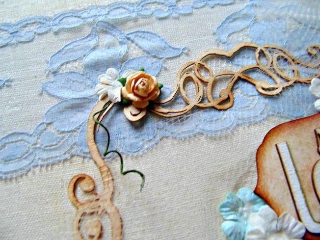 Album parents couverture détail fleur bois papier