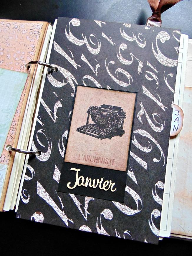 agenda scrapbooking intercalaire vintage steampunk janvier