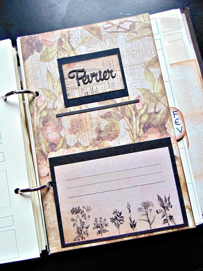 agenda scrapbooking intercalaire vintage steampunk février