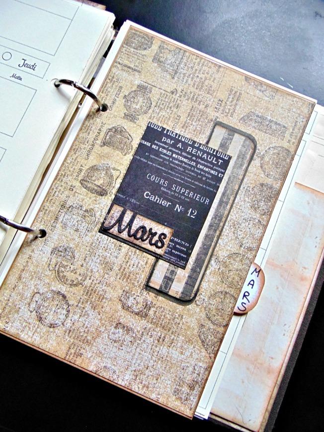 agenda scrapbooking intercalaire vintage steampunk mars