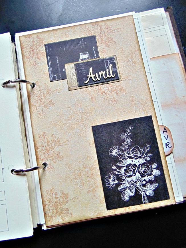 agenda scrapbooking intercalaire vintage steampunk avril