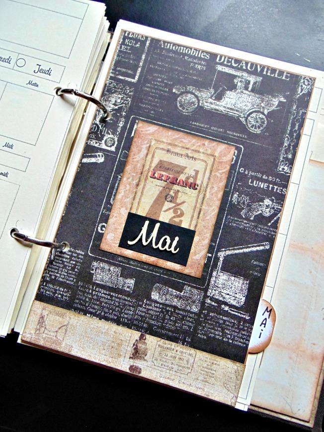 agenda scrapbooking intercalaire vintage steampunk mai