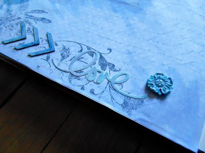 page romantique love fleur bleu scrapbooking