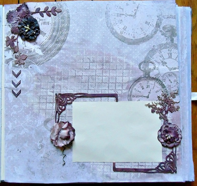 Album livre d'or mariage page horloge fleur cerisier photo