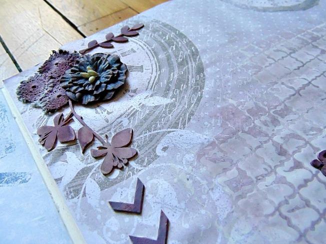 page fleur dentelle romantique horloge brou de noix rose foncé