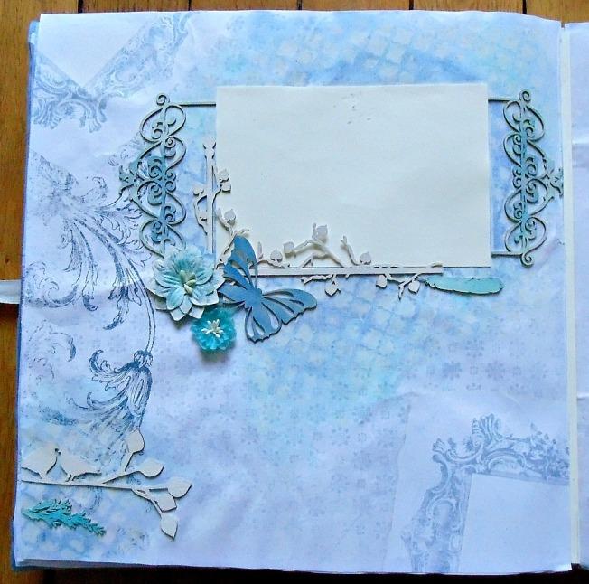 Album livre d'or mariage page bleu romantique amour fleur