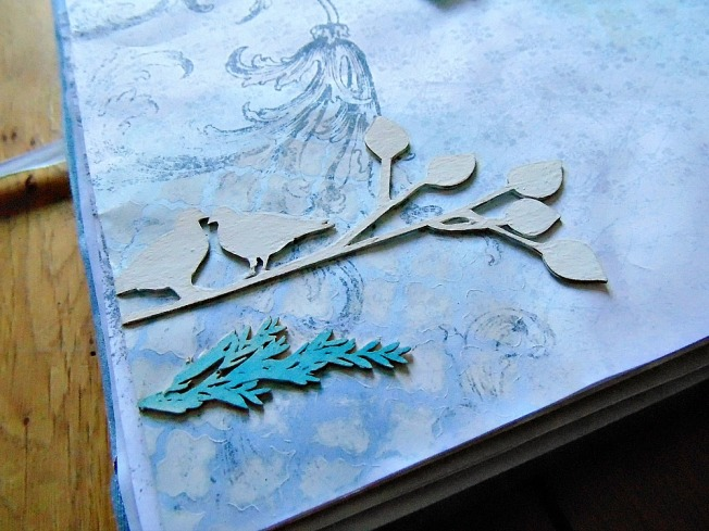 page bleu fleuri oiseau amoureux