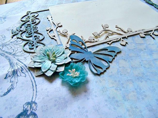 Album livre d'or mariage papillon fleur embellissement plante bleu turquoise