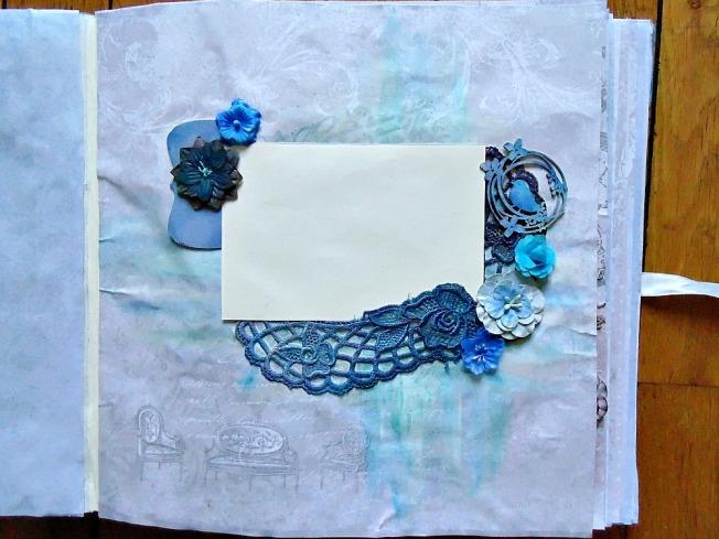 Album livre d'or mariage page photo bleu dentelle ellana scrap ellanascrap scrapbooking