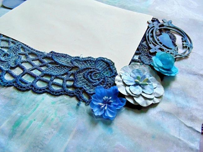 Album livre d'or mariage dentelle fleur petaloo oiseau bleu foncé tissu
