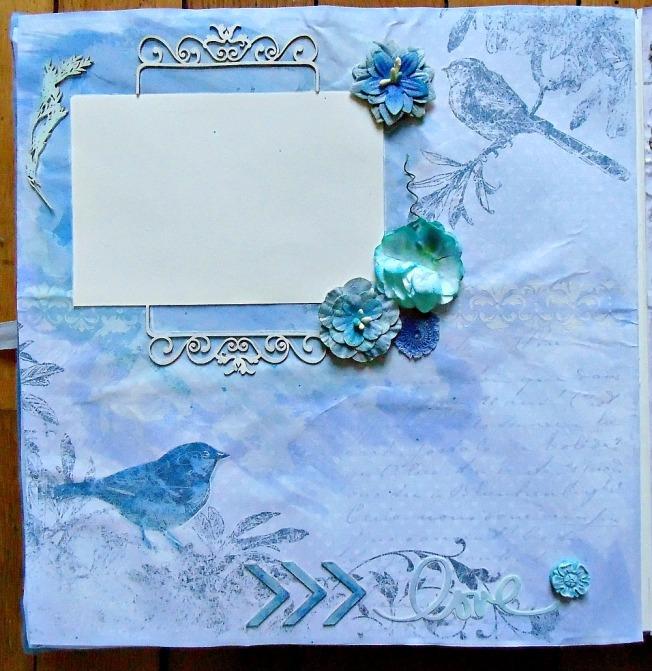 Album livre d'or mariage page bleu romantique fleur oiseau dentelle